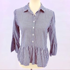 Girl Krazy Chambray Striped Peplum Bell Sleeve Top